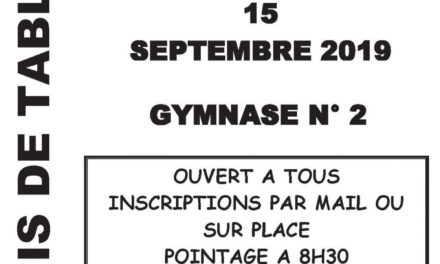 Tournoi du Club – Dimanche 15 septembre